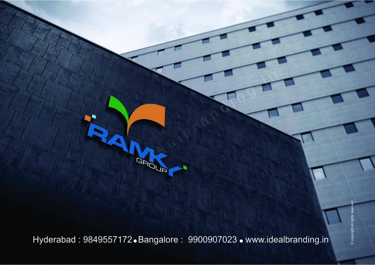 group infra logo design hyderbad construction branding india -Ramky8