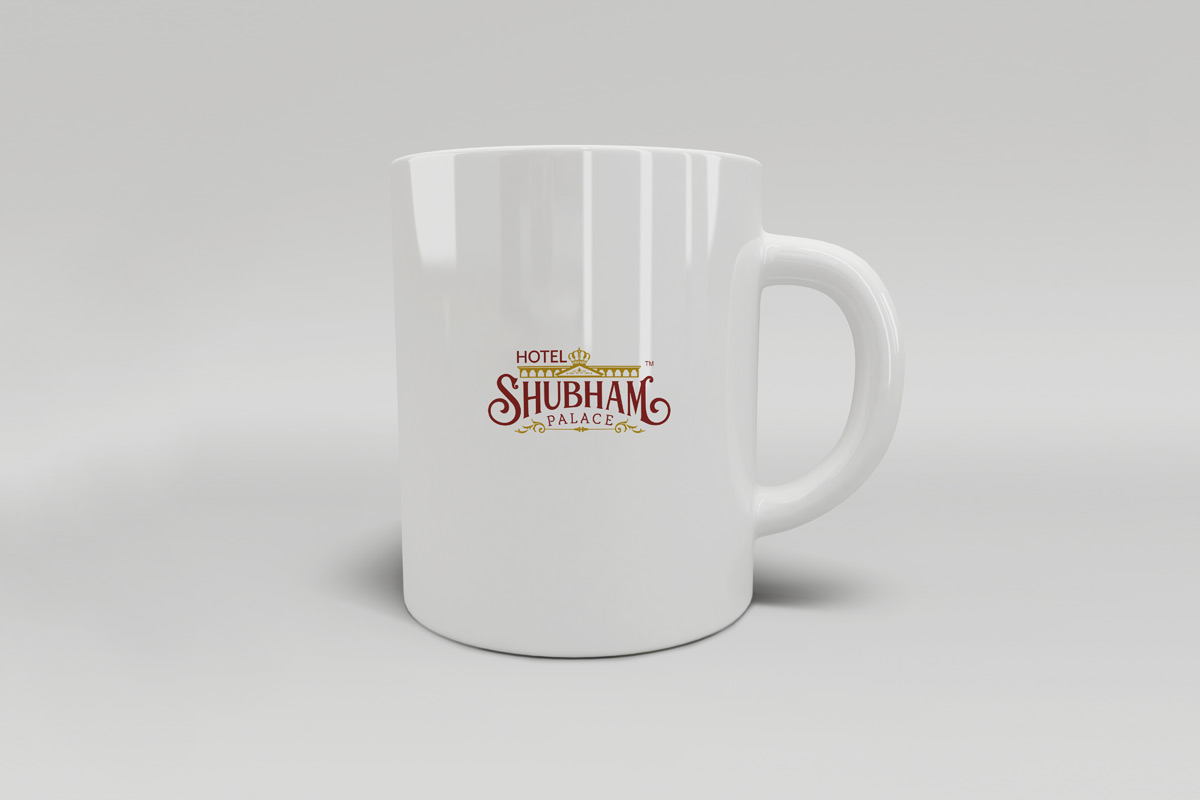 professional logo designs hyderabad, hotel branding, restaurant branidng india, hotel shubham palce logo, professional branding in hyderabad, on coffee mug